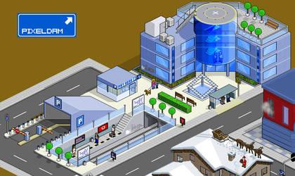 Pixeldam City Hall and subway