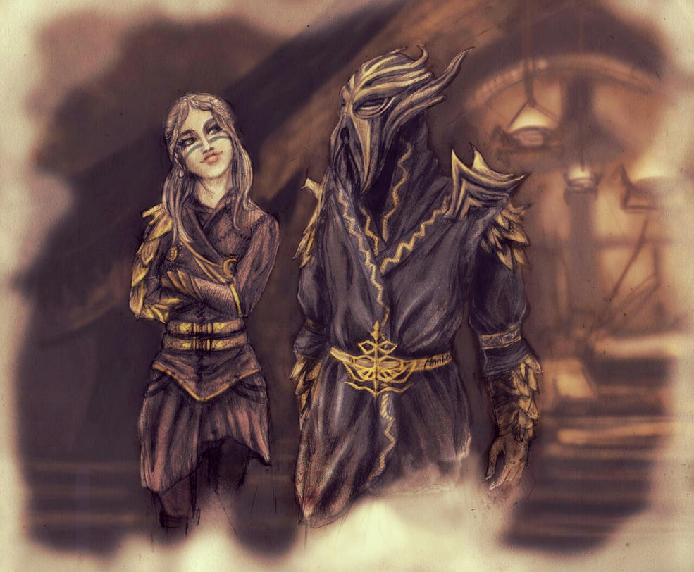 Miraak and cultist by Annber