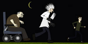 The mad Scientist and his Igor chasing the boy