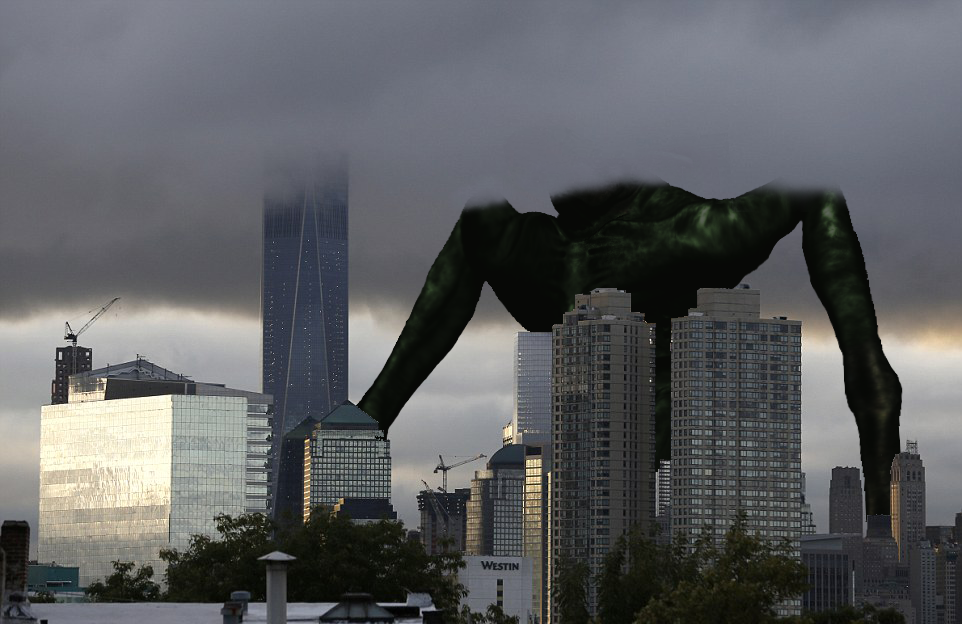 The adult Cloverfield Monster with head in clouds by Pyro-raptor on