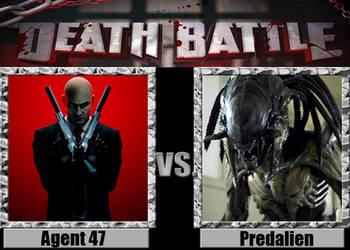 Agent 47 vs Predalien by Pyro-raptor