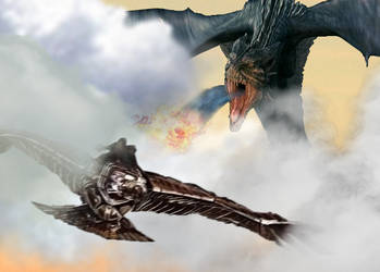 Reign of Fire x The Sorcerer's Apprentice: chase by Pyro-raptor