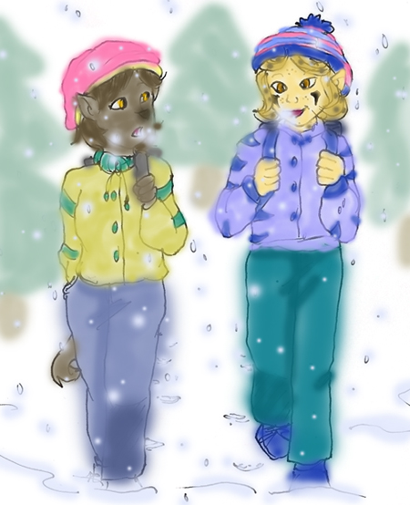 Tii and Eiza walking home from school by jadegriffin
