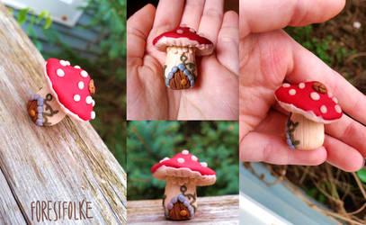Polymer Clay Faerie Mushroom House by forestfolke