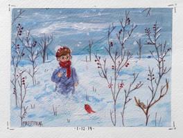 little boy in the snow by forestfolke
