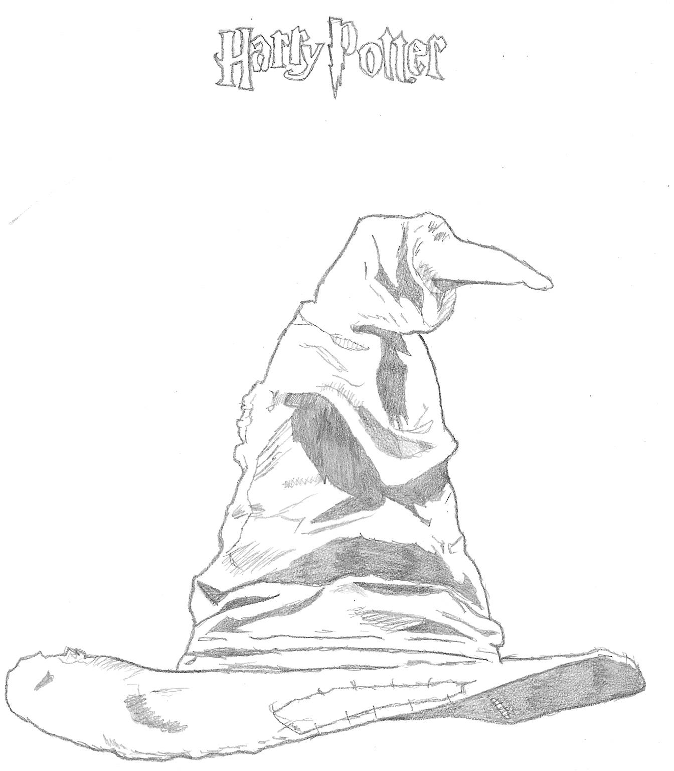 Harry Potter Sorting Hat Sketch Coloring Page