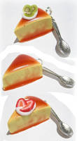 Fancy flan slices with spoons