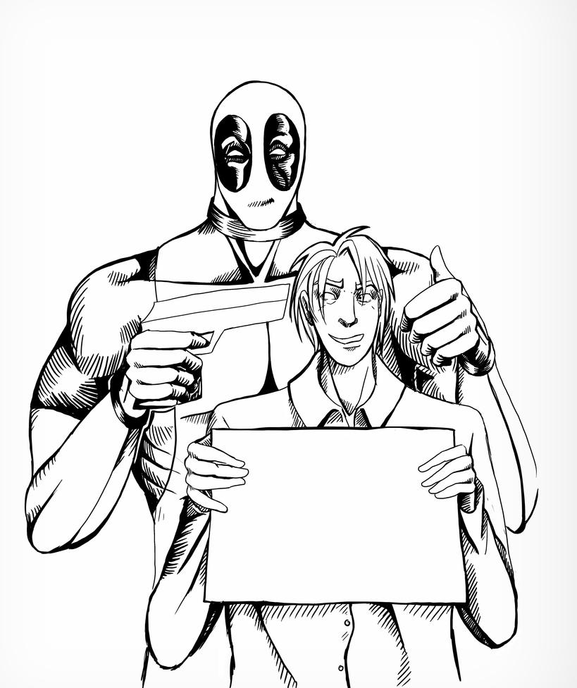 Line Drawing Poster : Deadpool movie poster lines by emmaseptimus on deviantart