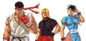 Street Fighter V - Ryu, Ken, Chun-li by Mick-cortes