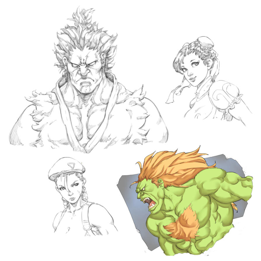 Street Fighter sketchs by Mick-cortes