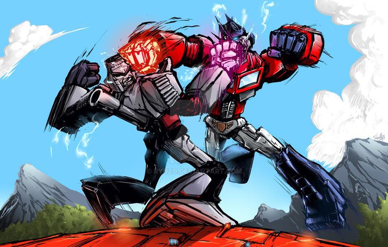 Optimus prime megatron colored by ryuzo on deviantart - Transformers cartoon optimus prime vs megatron ...