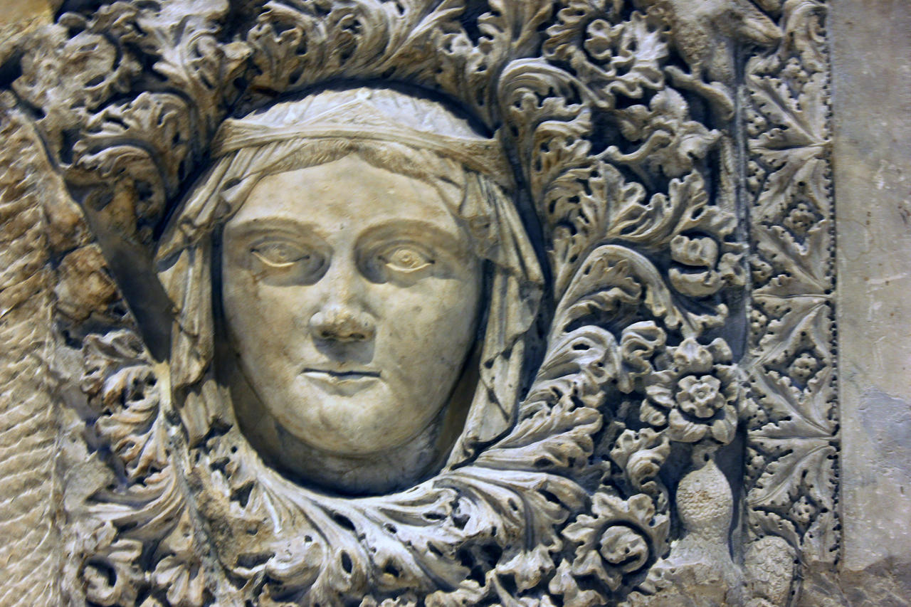 V and a renaissance room high relief stone carving by
