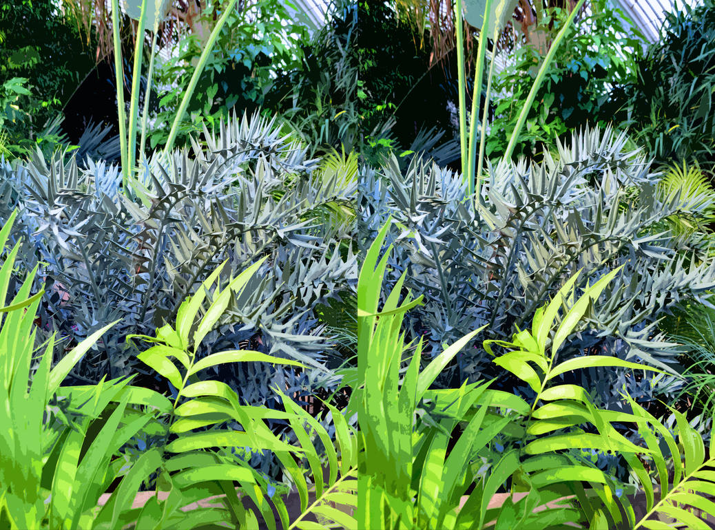 Paper Cutout Death World Cycad In Stereo by aegiandyad