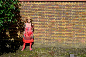 Lady With Red Brick Wall Copied Over Unwanted Bush by aegiandyad