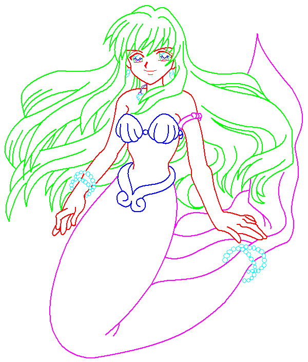 This is an image of Impeccable Mermaid Drawing Base