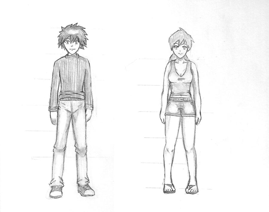 Practice anime boy and girl by animationsbyrobert