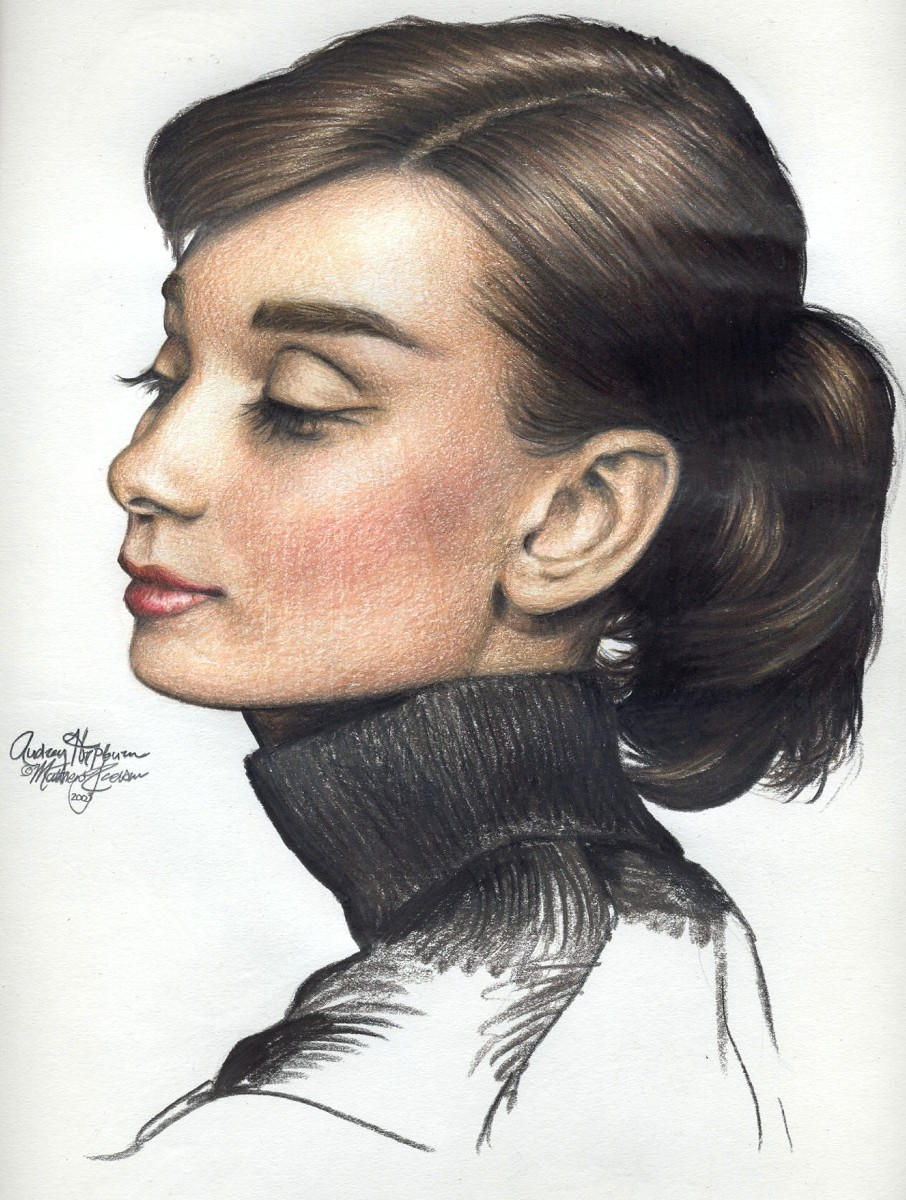 Audrey Hepburn 170 colored pen