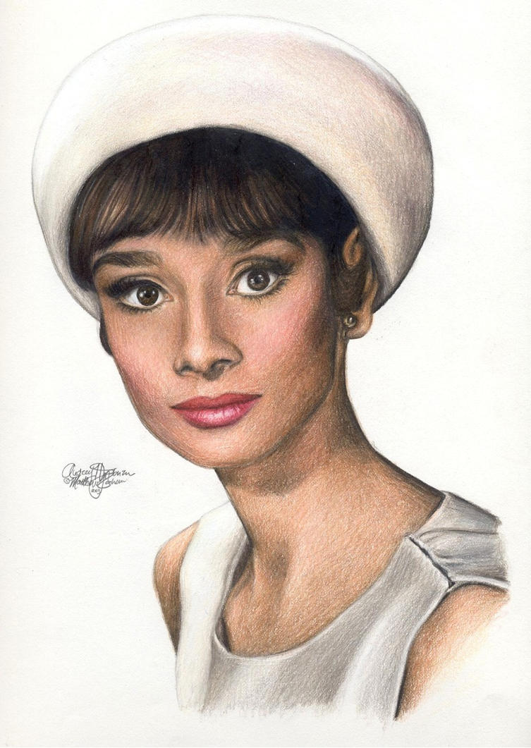 Audrey Hepburn 167 colored pen by Ethan-Carl