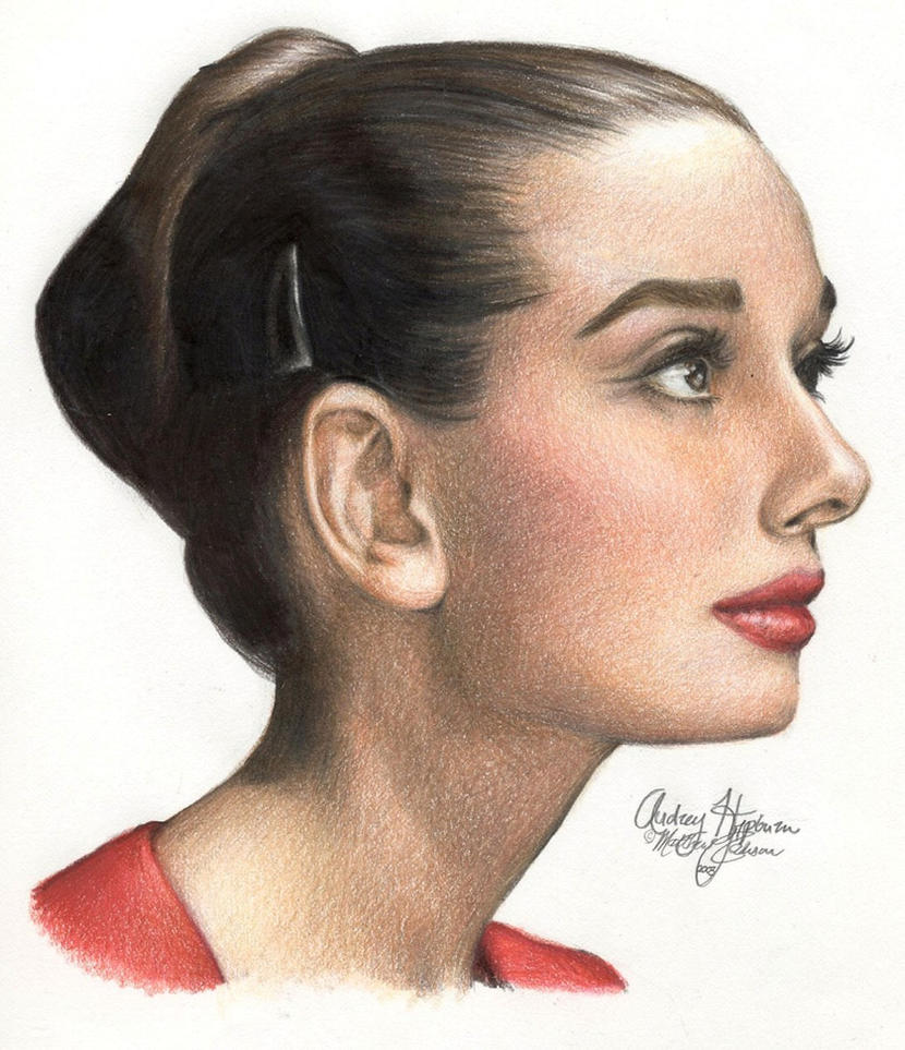 Audrey Hepburn 169 colored pen by Ethan-Carl