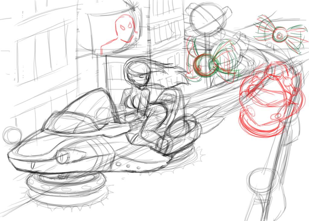 The Chase - rough sketch by KohakuKun19