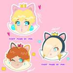 calico cat daisy,cat peach, cat rosalina stickers