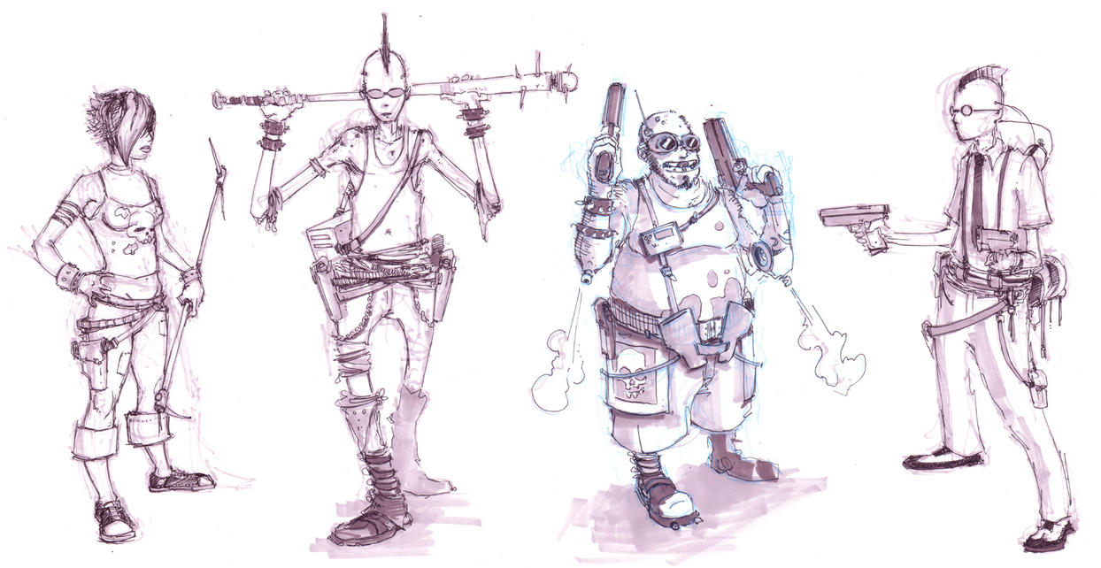 cyber punk character sketches by coolkatcasey on DeviantArt