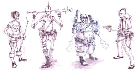cyber punk character sketches