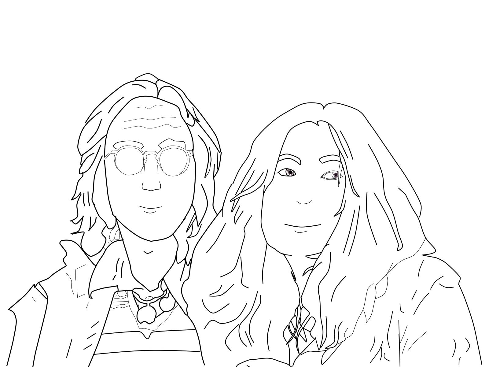 1966 Yoko Ono meets John Lennon at a London art gallery ... |Sketches John Lennon And Yoko Ono