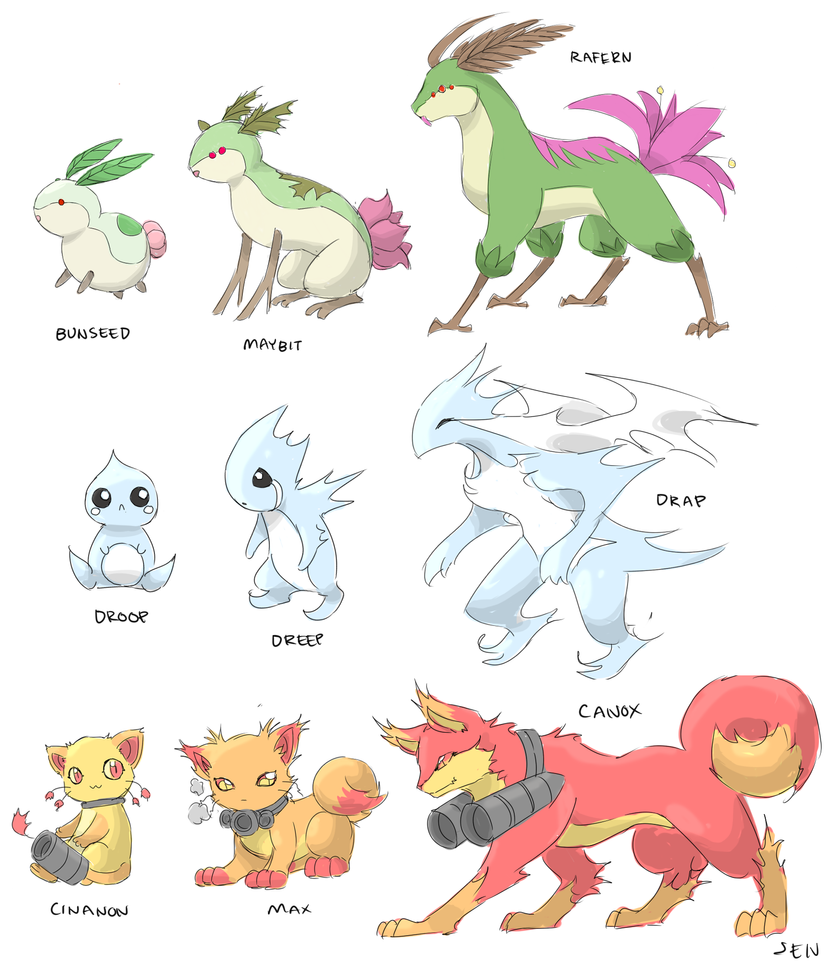 Fakemon starters by Jen-Jen-Rose on DeviantArt