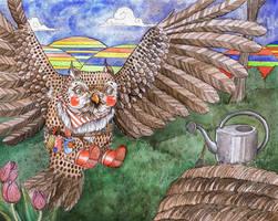 Garden Owl by Eleihna