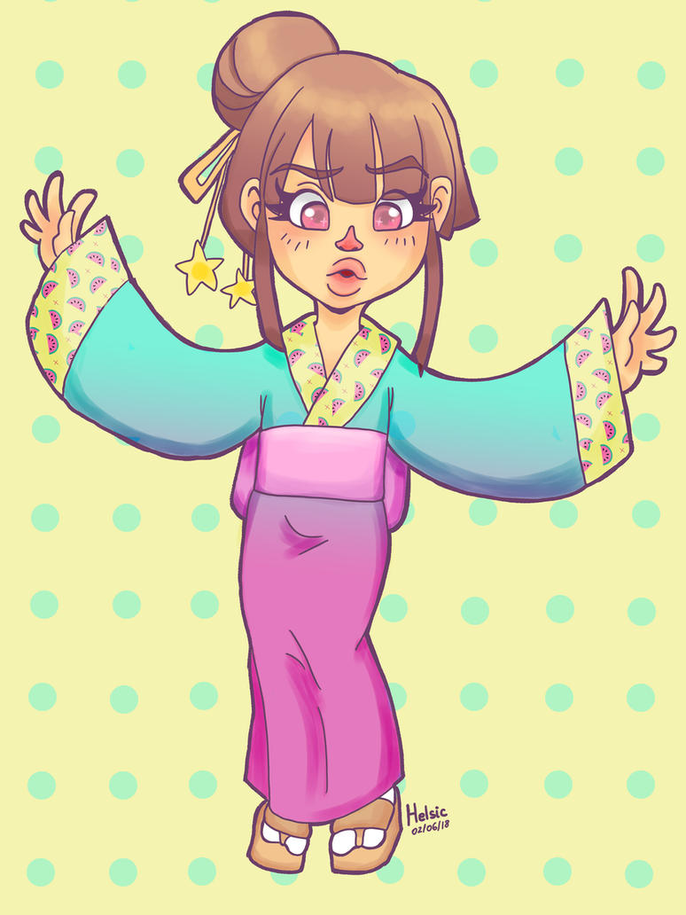 Aiko wearing a kimono by Helsic