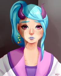 Sad demon girl by Helsic