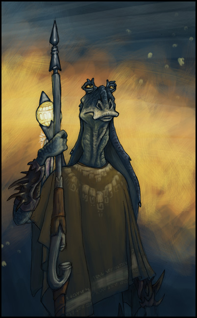 The Gungan in a Poncho by Dingoat on DeviantArt