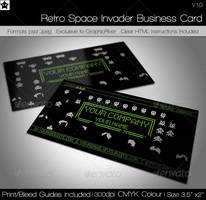 Retro Space Game Business Card by HollowIchigoBanki