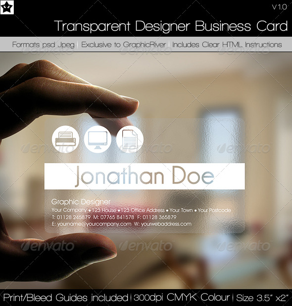 Transparent Designer Business Card Buy It Now