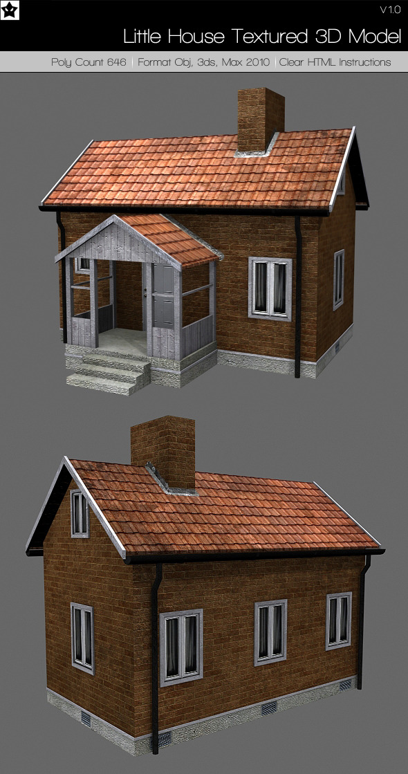Little house textured 3d model by hollowichigobanki on for 3d house building games online