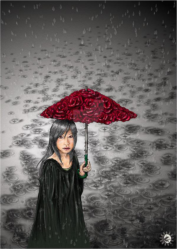 Sound of falling rain, Umbrella and Rose