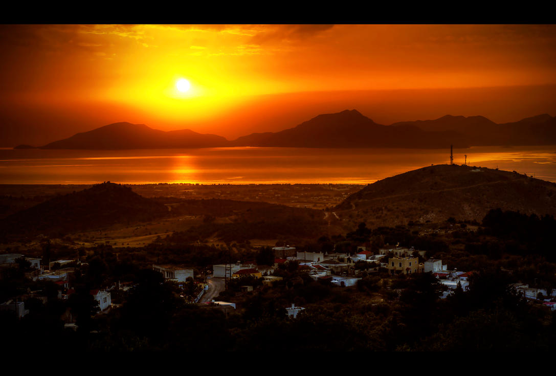 Sunset Over Three Islands by Beezqp