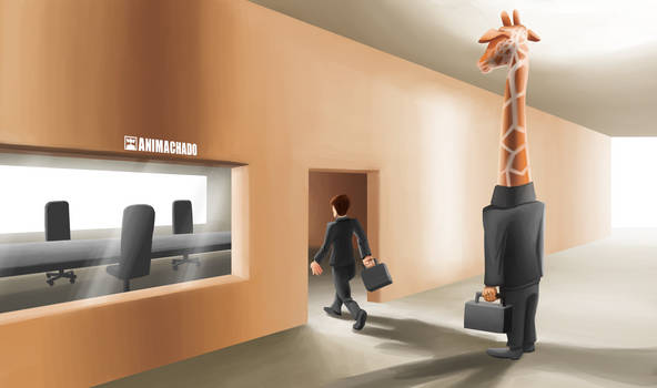 A giraffe that cannot enter in the room