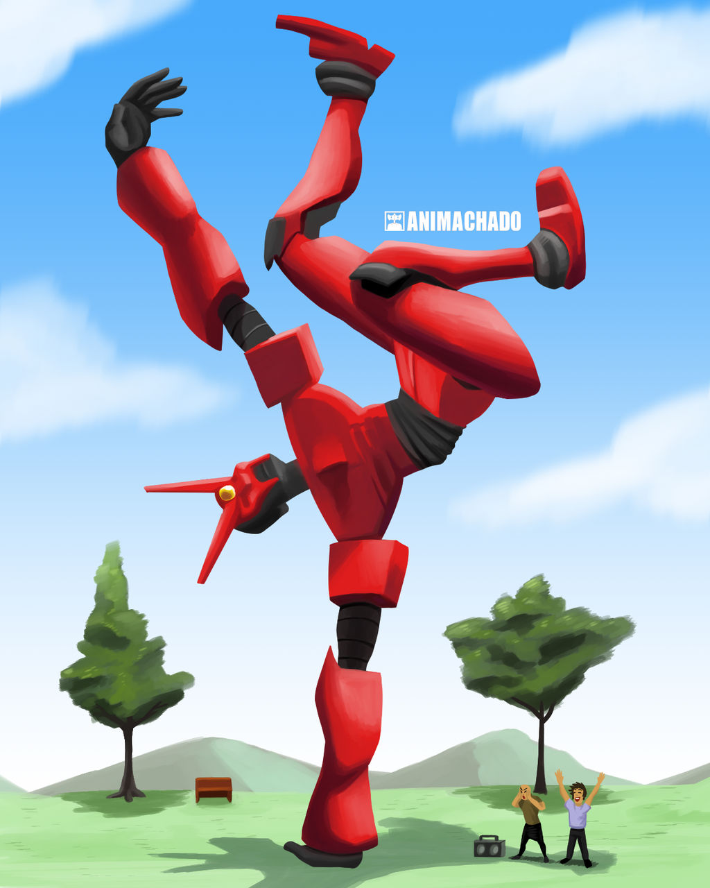 Mecha dancing breakdance by Animachado