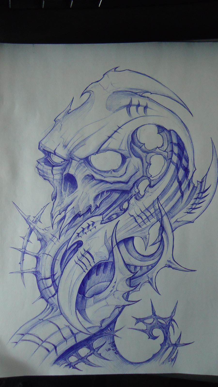 biomech skull design by DiegoCT92