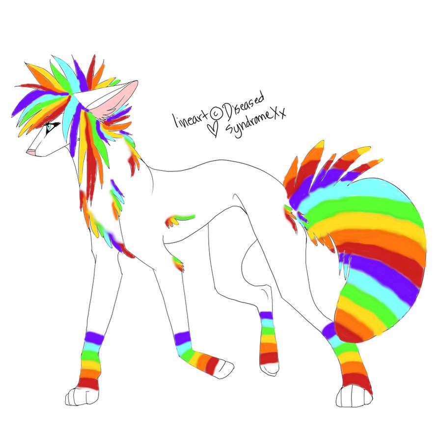 Adoptable Scene Rainbow Wolf ::CLOSED:: By MaddiiMayyhemm