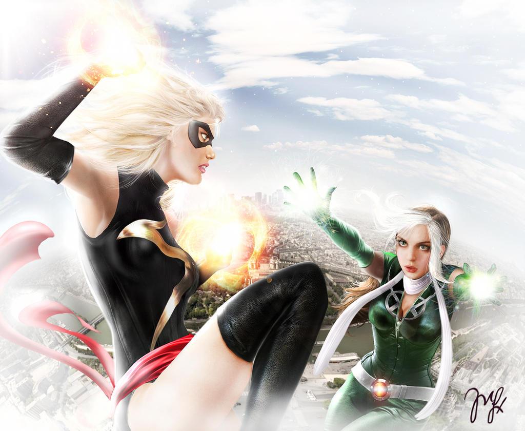Ms marvel y Rogue by Maryneim