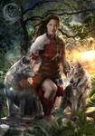 Phoebe and Two Wolves