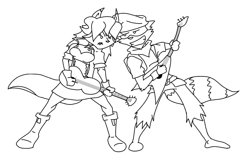 sly cooper coloring pages - sly and carm rock out lineart by foxzombiej on deviantart
