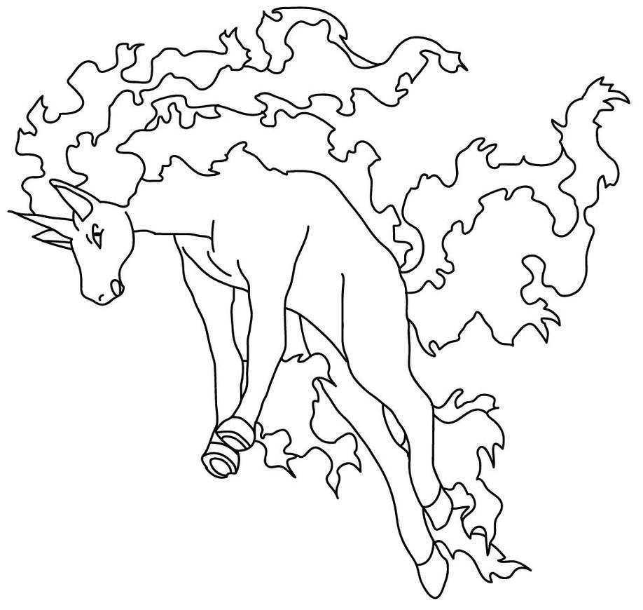 pokemon fire monkey coloring pages | Rapidash Lineart by Sarah-the-Monkey on DeviantArt