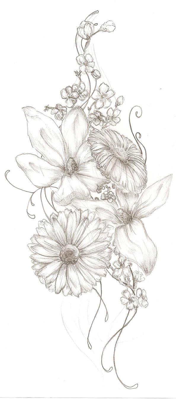 floral tattoo by wish misstress on deviantart. Black Bedroom Furniture Sets. Home Design Ideas