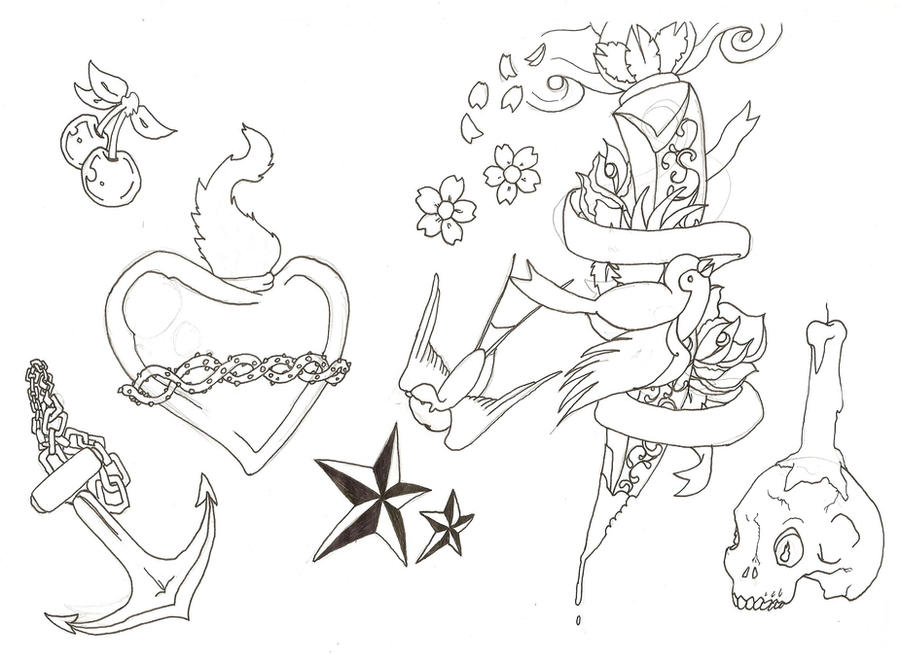 tattoo outlines. tattoo flash Outlines