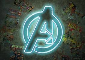 Marvel Comics - The Avengers Movie -Neon Sign Logo by 3ftDeep