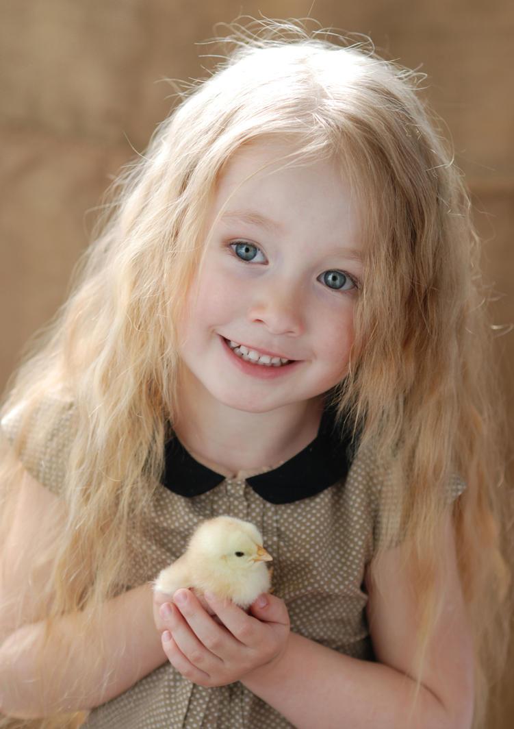 Little girl with chicken_2 by anastasiya-landa
